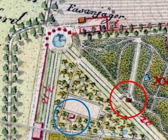 Letní jízdárna sKůrovým domkem (modře) a Střelnice (červeně) – 1819