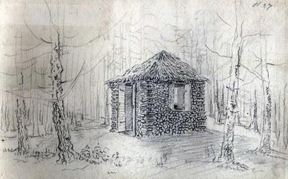 Domek zhranice dříví – kolem 1800, Paulina ze Schwarz.
