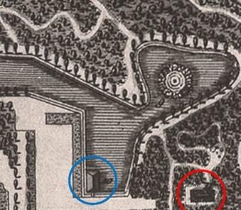 Přístaviště pro gondoly (modře) a Domek zhranice dříví (červeně) – 1802