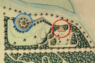 Čínský pavilón (modře) a Poustevna (červeně) – 1832