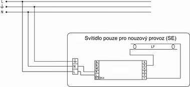 Obrázek 3 Schéma zapojení nouzového svítidla pro nouzový režim