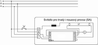 Obrázek 4 Schéma zapojení nouzového svítidla pro trvalý i nouzový režim